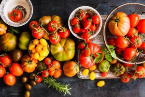 Selection of heirloom tomatoes